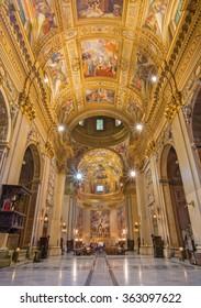 ROME, ITALY - MARCH 27, 2015: The nave of baroque church Basilica di Sant Andrea della Valle.