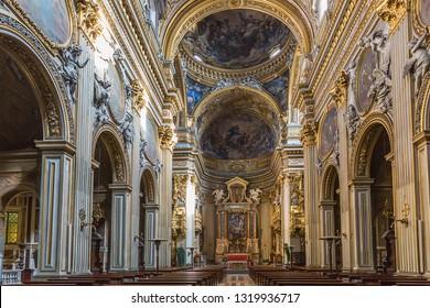 Rome, Italy – March 27, 2018: Interior of  Santa Maria in Vallicella, also called Chiesa Nuova