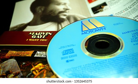 Rome, Italy - March 27, 2019: CDs and artwork of American singer, songwriter and record producer MARVIN GAYE. He helped to shape the sound of Motown in the 1960s