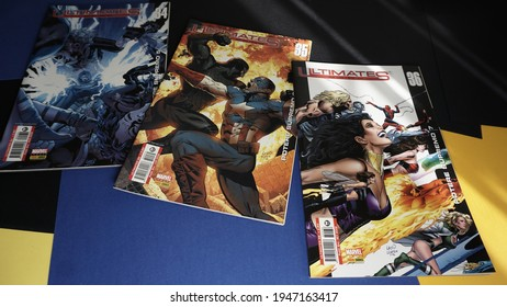 Rome, Italy - March 28, 2021, Marvel Italia comics, Panini Comics, from the Ultimates series, Jeph Loeb, Greg Land, Supreme Power 5,6,7 n. 34,35,36.