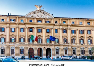 ROME, ITALY - MARCH 30, 2012: Ministry of Finance and Economics situated in a historical building in Rome, Italy.