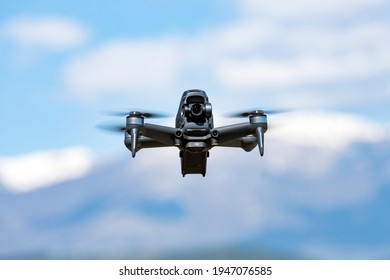 Rome, Italy, March 31, 2021. A new DJI FPV drone is flying during a sunny day. DJI FPV is a groundbreaking ready-to-fly FPV drone that lets users of any skill level feel the thrill of immersive flight