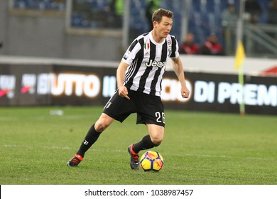 ROME, ITALY - MARCH 3,2018:  Lichtsteiner Stephan during fotball match serie A League 2017/2018 between SS Lazio vs Juventus at the Olimpic Stadium in Rome.