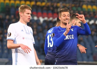 ROME, ITALY - MARCH 8,2018:  Sergej Milinkovic during fotball match UEFA Europa League between SS Lazio vs Dinamo Kiev at the Olimpic Stadium in Rome.