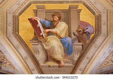 ROME, ITALY - MARCH 9, 2016: The fresco of St. Luke the Evangelist in church Chiesa di Santa Maria in Aquiro by Cesare Mariani from (1826 - 1901 in neo-mannerist style.