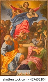 ROME, ITALY - MARCH 9, 2016: The  Assumption of Virgin Mary by  of Basilica di Santa Maria del Popolo by Annibale Carracci (1560 - 1609).