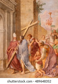 ROME, ITALY - MARCH 9, 2016: The fresco emperor Constantine carrying the holy cross (probably) in church Basilica di Santa Maria del Popolo by Pieter van Lindt (1637).