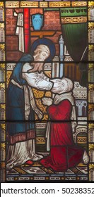 ROME, ITALY - MARCH 9. 2016: The Ananias restoring sight to Saul on the stained glass of All Saints' Anglican Church by workroom Clayton and Hall (19. cent.)