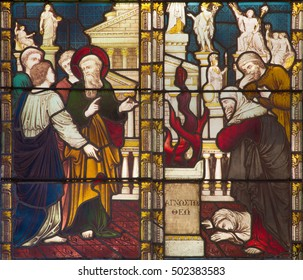 ROME, ITALY - MARCH 9. 2016: The Sermon of St. Paul in Athens on Aeropagus hill on the stained glass of All Saints' Anglican Church by workroom Clayton and Hall (19. cent.)