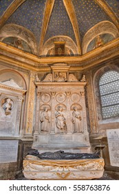 ROME, ITALY - MARCH 9, 2016: The marble altar of Costa chapel in church Basilica di Santa Maria del Popolo (St. Vincent, Katherine of Alexandria and Anthony of Padua) by Gian Cristoforo Romano (1505).