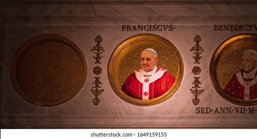 ROME, ITALY - Mat 25: Pope Francis, Jorge Mario Bergoglio is the 266th and current Pope of the Roman Catholic Church, the basilica of Saint Paul Outside the Walls, Rome on May 25, 2019.