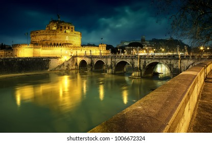 Rome, Italy. Mausoleum of Hadrian, known as the Castel Sant'Angelo. Blue twilight