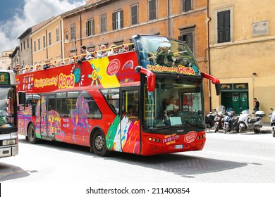 ROME, ITALY - MAY 03, 2014: Tourist bus with passengers on street in Rome, Italy