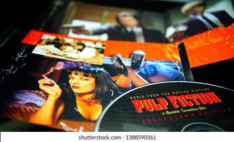 Rome, Italy - May 03, 2019: Detail of CD and artwork of OST of the film PULP FICTION. Second film by director Quentin Tarantino and prize for best original screenplay at the 1995 Oscar Awards