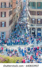ROME, ITALY - MAY 05, 2017: The church of Trinita dei Monti at the Spanish Steps (Piazza di Spagna)