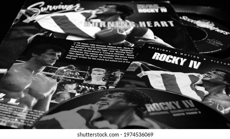 Rome, Italy - May 07, 2021: Cd and 45 rpm from the soundtrack of Sylvester Stallone's film, ROCKY IV. Which to celebrate 35 years since its release will be re-edited as director's cut in 2021