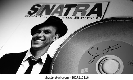 Rome, Italy - May 08, 2019: Cover and cd of the Best of by American singer, actor and TV presenter FRANK SINATRA. For many music critics it is the greatest voice of the 20th century
