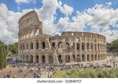 Rome, Italy - May 1, 2016: View of the Colosseum on a spring day, visited by thousands of tourists every day.