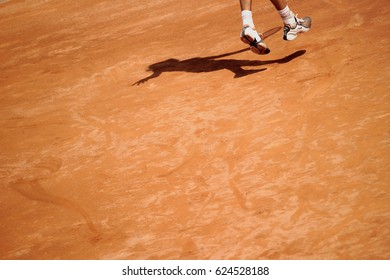 Rome, Italy - May 11, 2004: Feet of a tennis player during a match