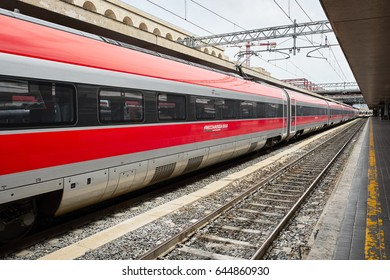 Rome, Italy - May 11, 2017:  The Italian high speed train Frecciarossa at Termini station, Rome