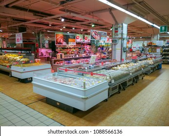 "ROME, ITALY. May 11, 2018: Gastronomy department, cheeses and cold cuts inside ""Panorama"" shopping center in the historic center of Rome in Italy."