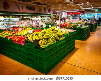 """ROME, ITALY. May 11, 2018: Fruit and vegetables department inside """"Panorama"""" shopping center in the historic center of Rome in Italy."""