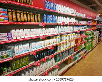 "ROME, ITALY. May 11, 2018: Shampoo, soap and personal care products department inside ""Panorama"" shopping center in the historic center of Rome in Italy. Shelves with products."