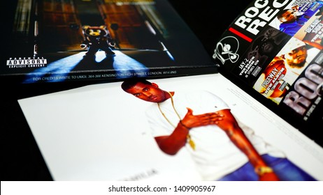 Rome, Italy - May 11, 2019: Detail of CDs and artwork of musician, beatmaker, rapper, record producer, songwriter, KANYE WEST. has 5 songs that have exceeded 3 million digital copies in US soil