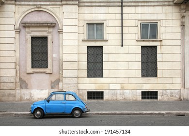 ROME, ITALY - MAY 12, 2010: Fiat 500 parked in Rome, Italy. With almost 4 million units sold, Fiat 500 is among Top 50 cars in automotive history. Nowadays it is desired by collectors.