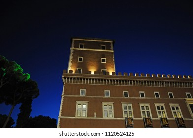 ROME, ITALY, MAY 12: The facade of Museum Palazzo Venezia and the famous balcony from where Mussolini historically made his speeches to the nation. Rome Italy during night. Rome, Italy, May 12, 2017