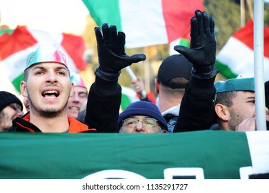 Rome, Italy: May 12nd, 2016: Supporters of the extreme far-right party protest in the streets of Rome  against inmigration policy