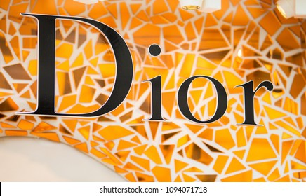 Rome, Italy - May 13, 2018: Dior logo on brand's store in Rome.