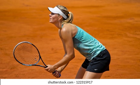 ROME, ITALY - MAY 13: Maria Sharapova trains at Internazionali BNL on May 13, 2012 in Rome, Italy