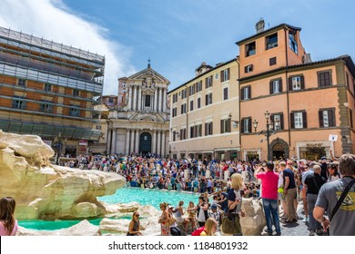 Rome, Italy - May 16 2018: Example of overtourism at Trevi Fountain in Rome.