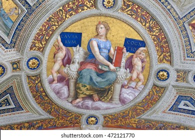 Rome, Italy - May, 18-2016 - Fresco on ceiling in a hall way in the Vatican Museum