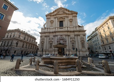 Rome, Italy, May 2, 2018. View at St. Andrea della Valle, Catholic church in Rome, Italy. Rome - The baroque portal of church Basilica di Sant Andrea della Valle at afternoon.