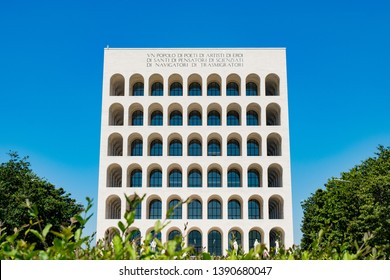 Rome, Italy - May 2 2019: Colosseo Quadrato is a symbol of EUR district built during World War 2 in 1942-1943