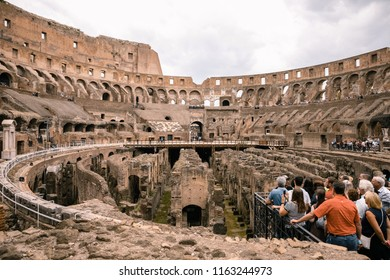 ROME, ITALY- May 2: The view of the Roman Coliseum on May 2, 2018 in Rome, Italy. Colosseum is an oval amphitheater in the center of Roma, it is the largest amphitheater ever built