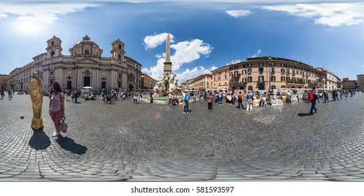 ROME, Italy - May 2013: Full 360 equirectangular spherical panorama view of  Piazza Navona. Virtual reality content
