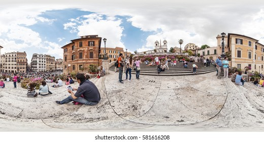 ROME, Italy - May 2013: Full 360 equirectangular spherical panorama view of Spanish Steps in Rome. Virtual reality content