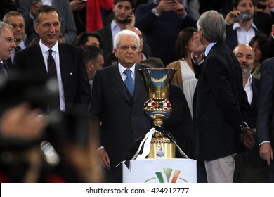 ROME, ITALY - MAY  2016 : Mattarella  during football match  of Italy Cup Final  between Juventus vs Milan  at the Olimpic Stadium  on May 21, 2016 in Rome.