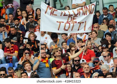 """ROME, ITALY - MAY 2016 : As Roma supporter during fotball match  of Italian League """"Serie A"""" between A.s. Roma  vs Chievo at the Olimpic Stadium  on May 8, 2016 in Rome.(ph Marco Iacobucci)"""