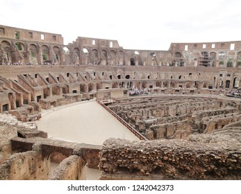 Rome, Italy - May 2017: View from inside the Colosseum. Tourist visiting the Ruins of Colloseum .