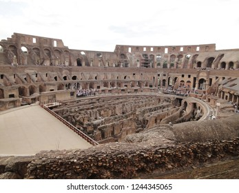 Rome, Italy - May 2017: View from inside the Colosseum. Tourist visiting the Ruins of Coloseum .