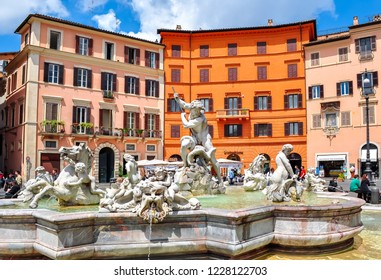 Rome, Italy - May 2018: Neptune fountain on Navona square