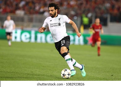ROME, ITALY - MAY 2,2018:  Mohamed Salah during football match UEFA Champions League football, semi final, second leg; AS Roma versus Liverpool at the Olimpic Stadium in Rome.