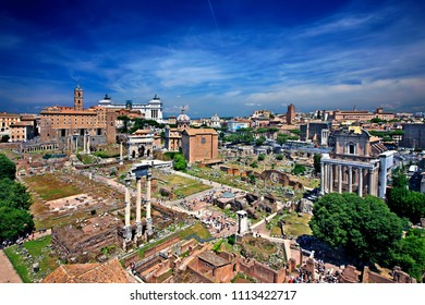 """ROME, ITALY - May 23, 2017. Panoramic view of the Roman Forum, the """"heart"""" of the Roman Empire, from the Orti Farnesiani (Farnesiani gardens), on the Palatine Hill."""