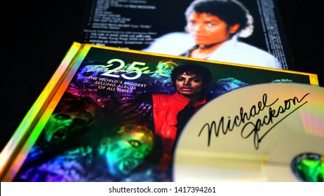 Rome, Italy - May 23, 2019: Cover cd and artwork of the edition for the 25th anniversary of Michael Jackson's Thriller. the best-selling album in the history of music with over 110 million copies