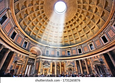 ROME, ITALY- May 24, 2017. Inside the Pantheon, former Roman Temple, now a church of St. Mary and the Martyrs (Chiesa Santa Maria dei Martiri).
