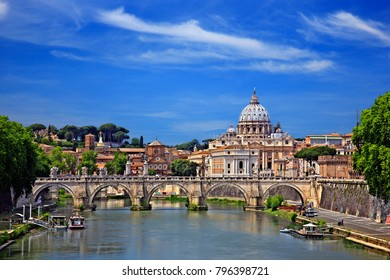 ROME, ITALY- May 24, 2017. The dome of St Peter's Basilica and Ponte Sant'Angelo, over Tiber river.